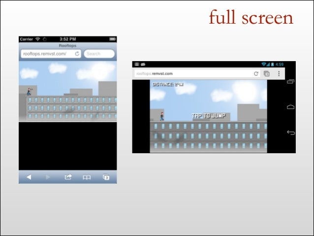 "full screen <meta name=""apple-mobile-web-app-capable"" content=""yes""> if (navigator.standalone) { }"