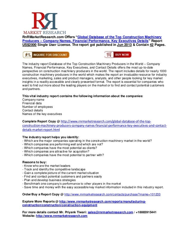 """RnRMarketResearch.com Offers """"Global Database of the Top Construction MachineryProducers – Company Names, Financial Perfor..."""