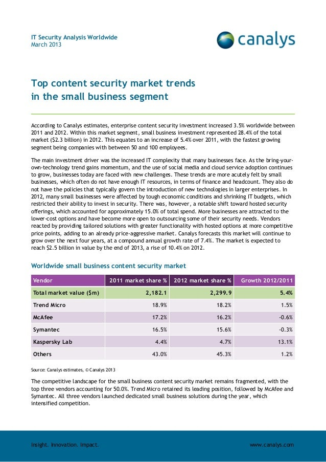 Insight. Innovation. Impact. www.canalys.comIT Security Analysis WorldwideMarch 2013Top content security market trendsin t...