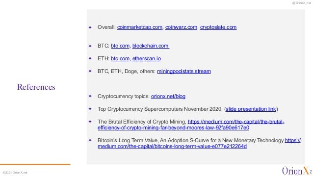@OrionX_net ©2021 OrionX.net References ✦ Overall: coinmarketcap.com, coinwarz.com, cryptoslate.com  ✦ BTC: btc.com, bloc...
