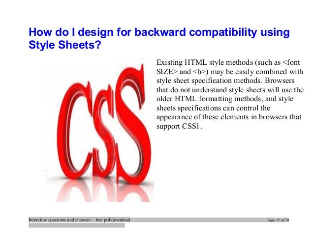 Interview Questions On Css Pdf