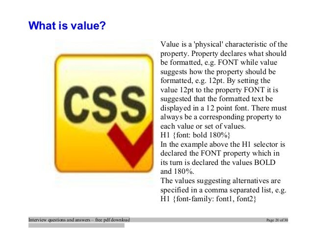 css interview questions and answers pdf free download