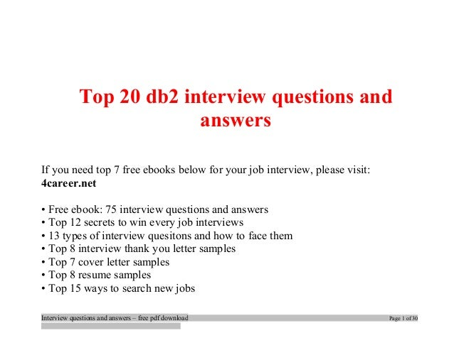 Superior Top 20 Db2 Interview Questions And Answers If You Need Top 7 Free Ebooks  Below For ...