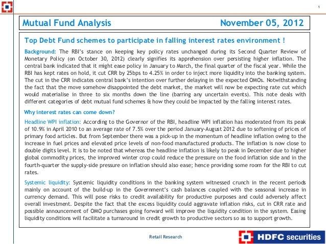 1Mutual Fund Analysis                                                                 November 05, 2012    Top Debt Fund s...