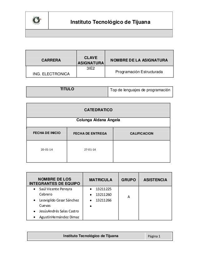 Instituto Tecnológico de Tijuana  CLAVE ASIGNATURA 3IE2  CARRERA  NOMBRE DE LA ASIGNATURA Programación Estructurada  ING. ...