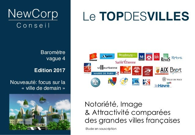 Le TOPDESVILLES Notoriété, Image  & Attractivité comparées  des grandes villes françaises Etude en souscription Baromètr...