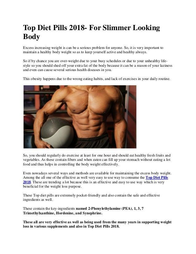 Top Diet Pills 2018 For Slimmer Looking Body