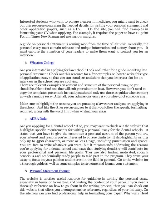 Personal Statement Format with the Top Educational Sites at Your Serv…