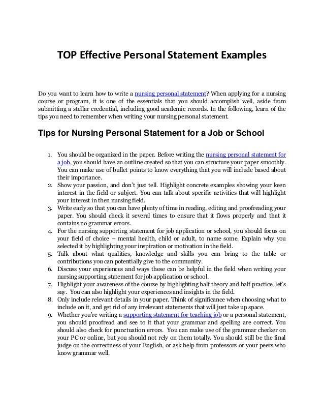 personal statement for nursing jobs