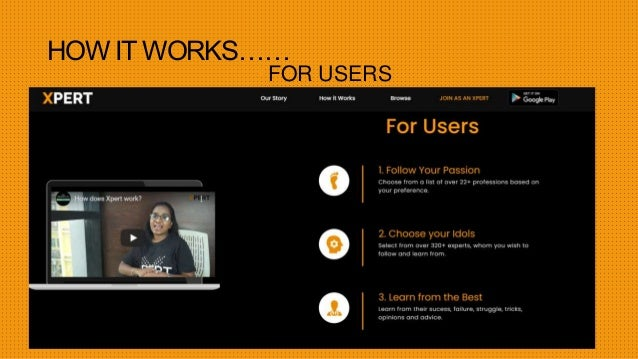 HOW IT WORKS…… FOR USERS