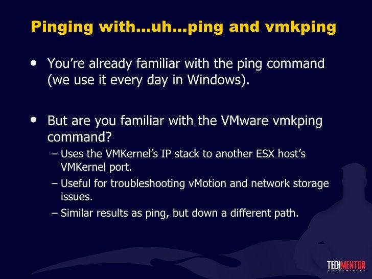 Top ESXi command line v2.0 Vmware Ping Command
