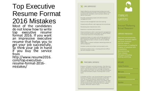 Top Executive Resume Format 2016 Mistakes Most Of The Candidates Do Not  Know How To Write