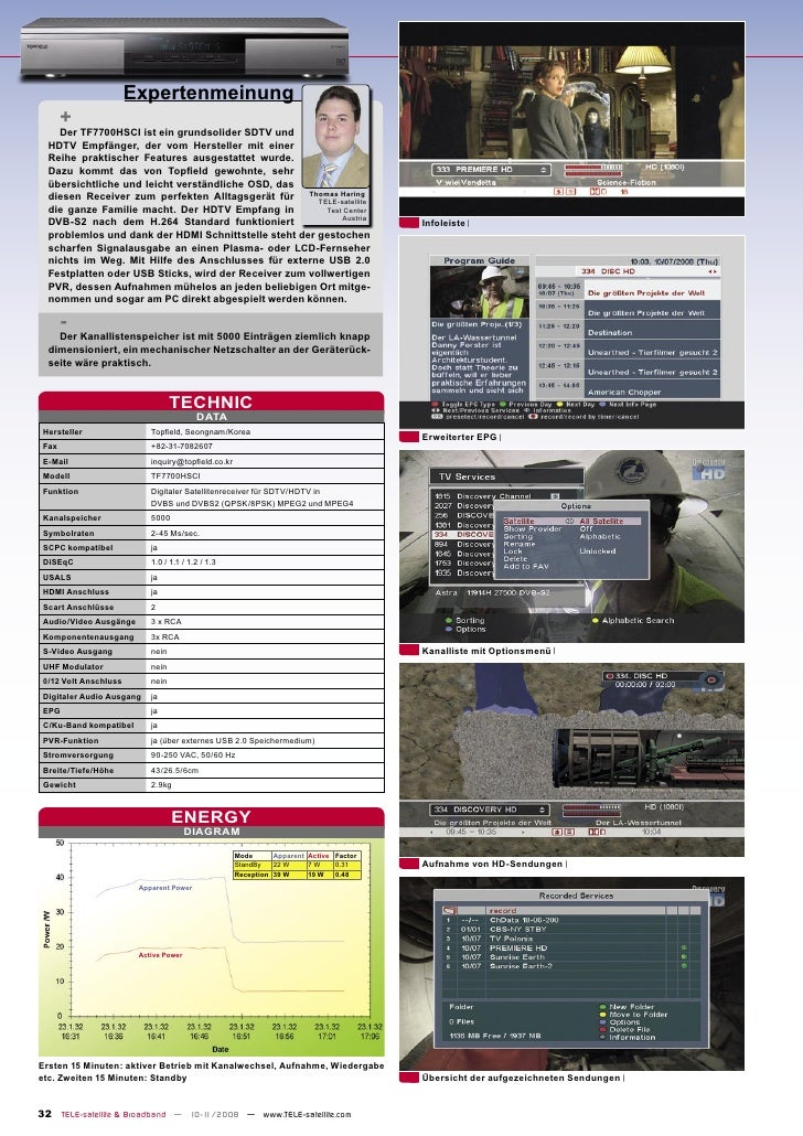 Expertenmeinung        +     Der TF7700HSCI ist ein grundsolider SDTV und   HDTV Empfänger, der vom Hersteller mit einer  ...