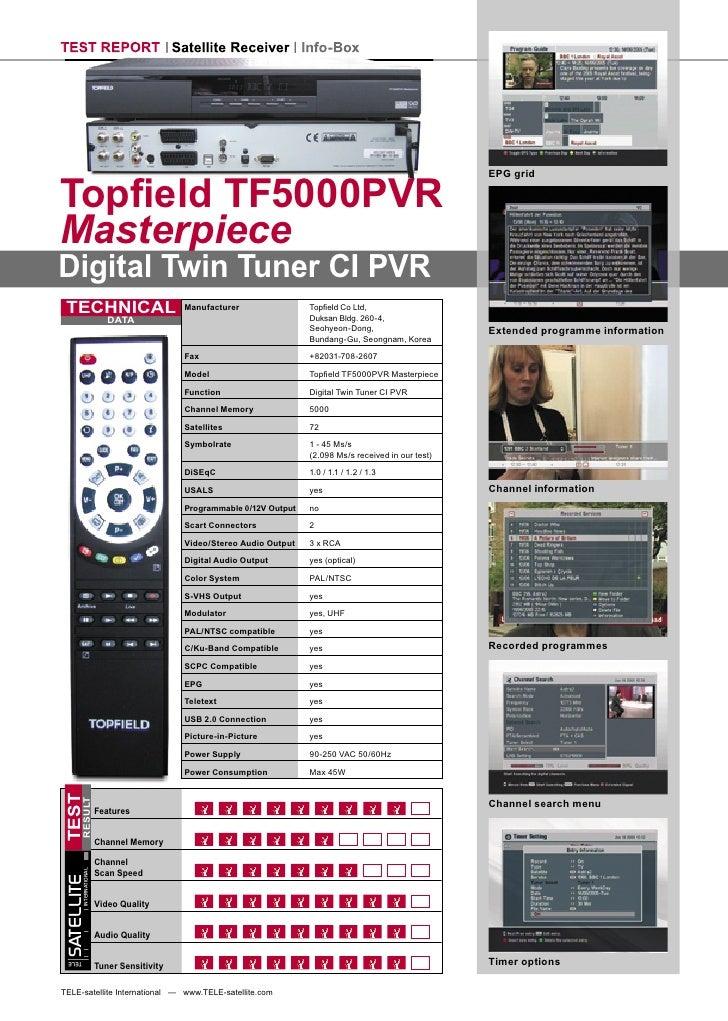 TEST REPORT Satellite Receiver Info-Box     Topfield TF5000PVR                                                             ...