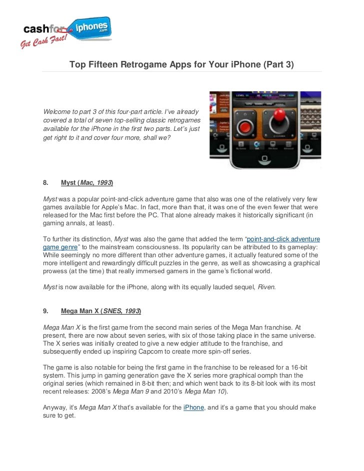 Top Fifteen Retrogame Apps for Your iPhone (Part 3)Welcome to part 3 of this four-part article. I've alreadycovered a tota...
