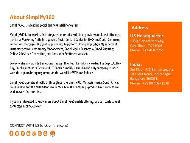 About Simplify360 US Headquarter: 1330, Capital Parkway, Carrollton, TX 75006 Phone : 347-468-7251 India: 3rd Floor, 7/1 B...
