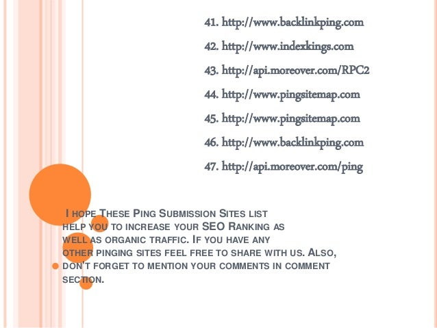 Top free ping submission sites list 2017