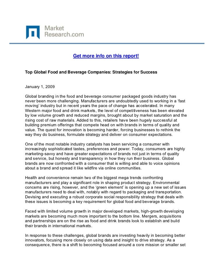 Get more info on this report!Top Global Food and Beverage Companies: Strategies for SuccessJan...