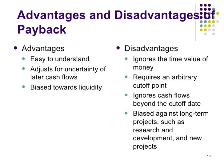 advantages and disadvantages of payback method finance essay Due 2/15/2017corporate finance  explain the disadvantages of using the payback methodcompare describe the advantages and disadvantages of each method.