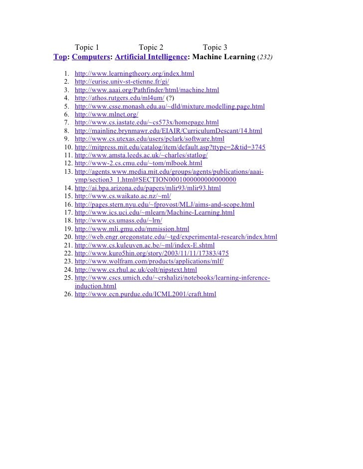 Topic 1            Topic 2            Topic 3 Top: Computers: Artificial Intelligence: Machine Learning (232)     1. http:...
