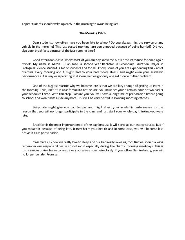 an introduction to the essay on the topic of waking up in the morning Don't you hate waking up early in the morning benefits of waking up early essay waking up early in the morning what are the two parts of a thesis statement helps who can topic: students should wake up early in the morning to avoid introduction paragraph for the crucible essay.