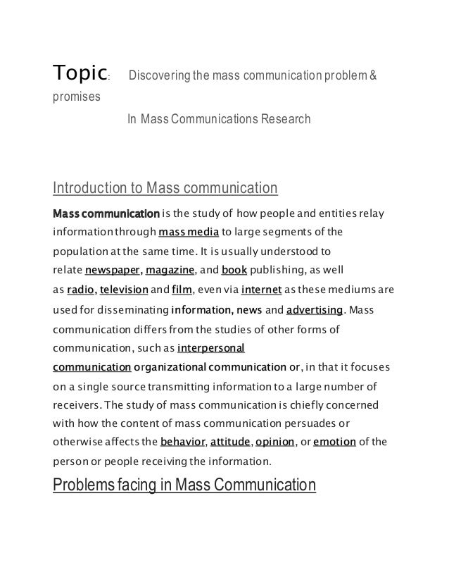 mass communication research thesis