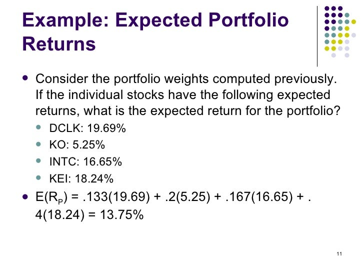 expected portfolio return and risk View homework help - chapter 11 portfolio expected return and risk from fin 221 at university of illinois, urbana champaign 7 portfolio expected return and risk aa aa a a collection of.