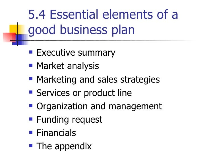 elements of good business plan