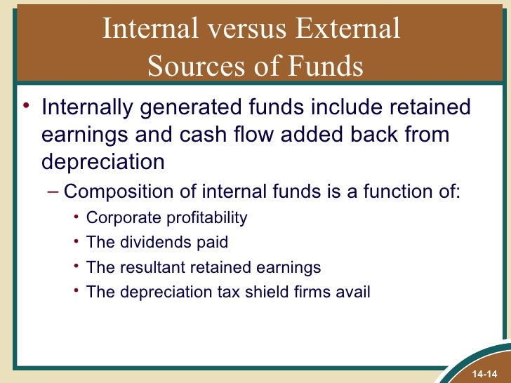 internal versus external funds in corporations Let's understand internal vs external sources of finance, their meaning, key   companies look for funding internally when the fund requirement is quite low.