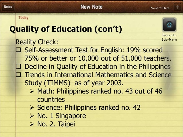 problems and issues in the philippine educational system present