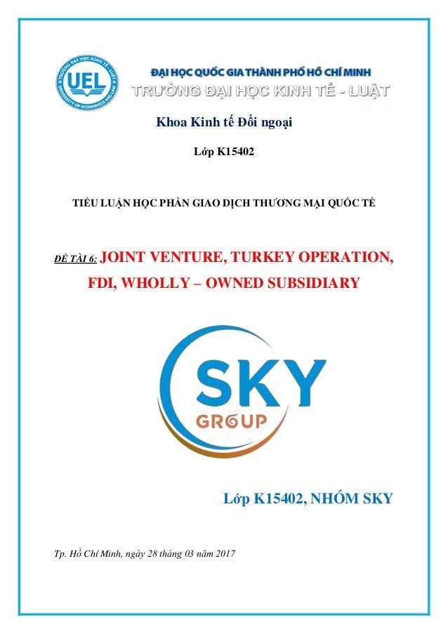 JOINT VENTURE, TURKEY OPERATION, FDI, WHOLLY – OWNED SUBSIDIARY Slide 2
