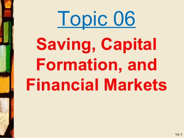 Topic 06 Saving, Capital Formation, andFinancial Markets                    14-1