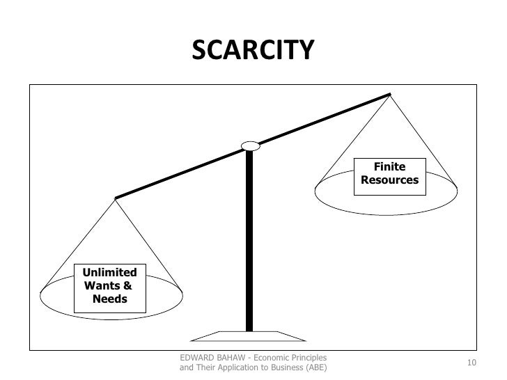 SCARCITY EDWARD BAHAW - Economic Principles and Their Application to Business (ABE) Unlimited Wants &  Needs Finite Resour...