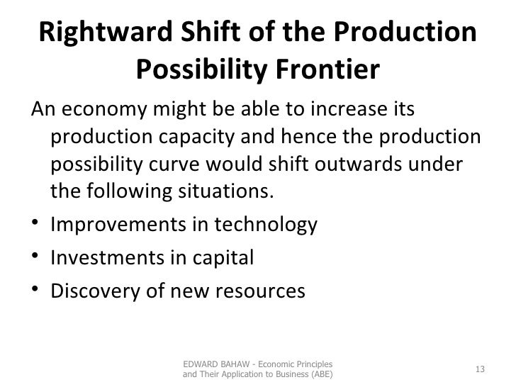 Rightward Shift of the Production Possibility Frontier <ul><li>An economy might be able to increase its production capacit...