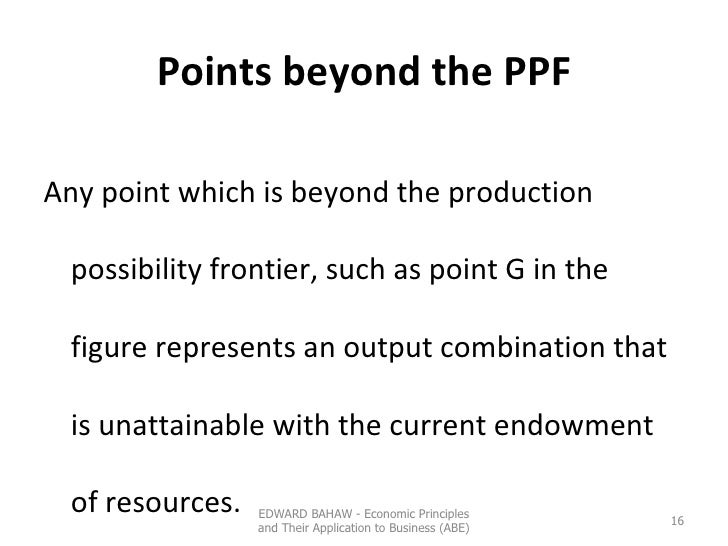 Points beyond the PPF <ul><li>Any point which is beyond the production possibility frontier, such as point G in the figure...