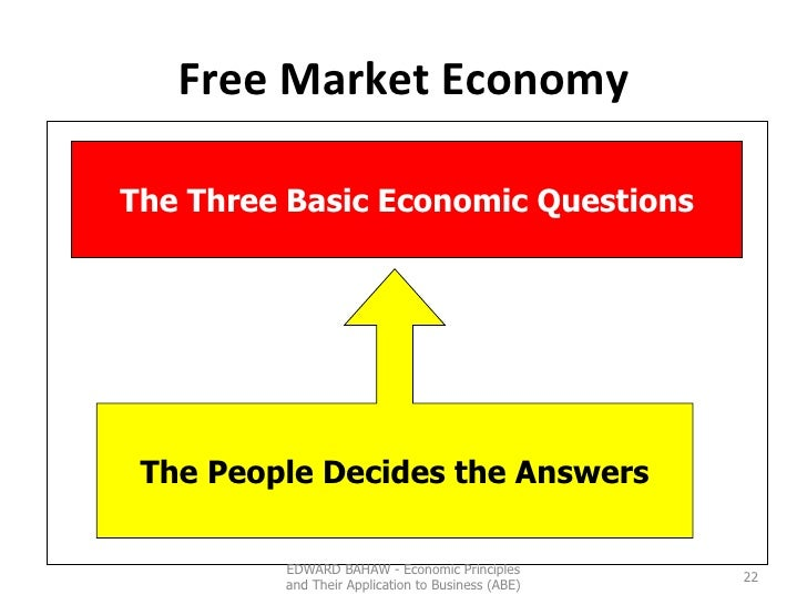 Free Market Economy EDWARD BAHAW - Economic Principles and Their Application to Business (ABE) The Three Basic Economic Qu...