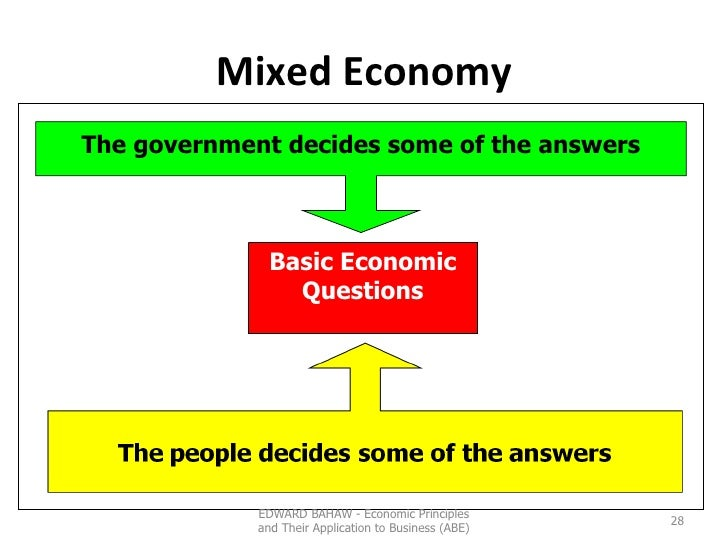 Mixed Economy Basic Economic Questions The government decides some of the answers EDWARD BAHAW - Economic Principles and T...