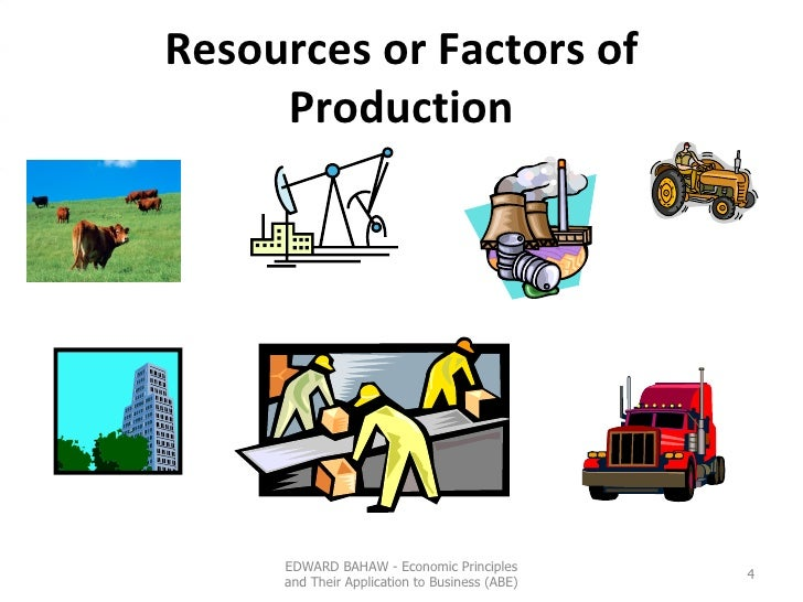 Resources or Factors of Production EDWARD BAHAW - Economic Principles and Their Application to Business (ABE)