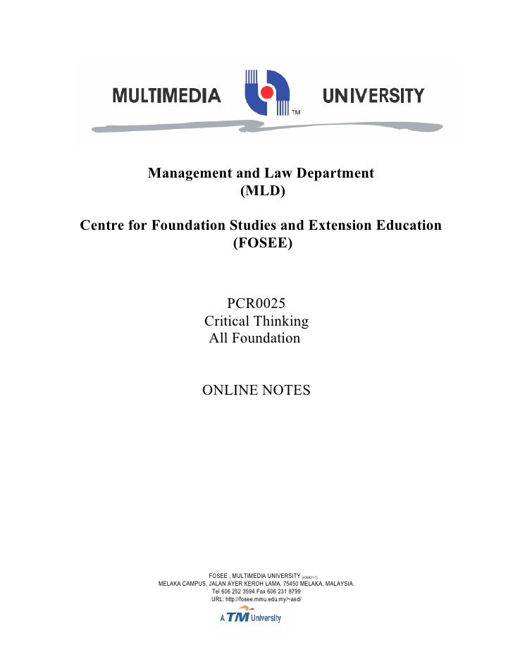 Management and Law Department                     (MLD)Centre for Foundation Studies and Extension Education              ...