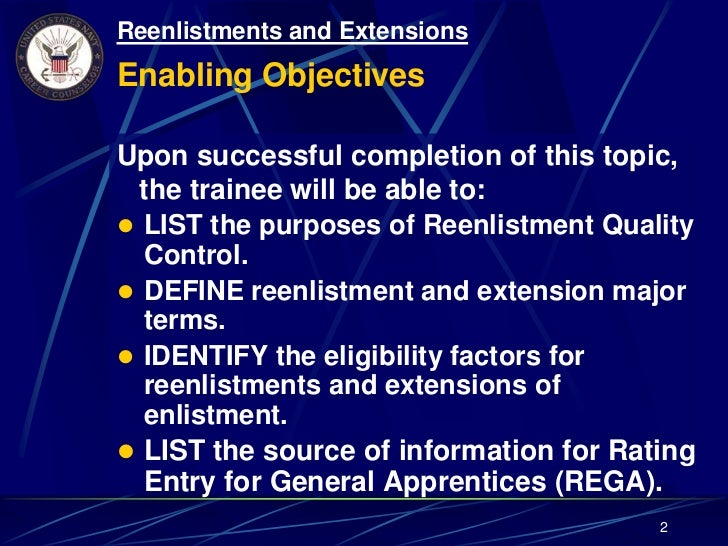 Topic 1 15 Reenlistment & Extensions