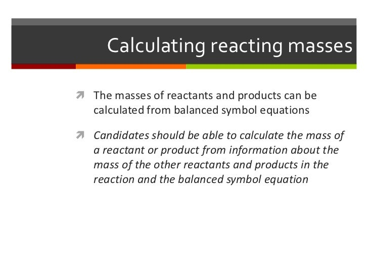Topic 13 Chemical Reactions And Related Calculations