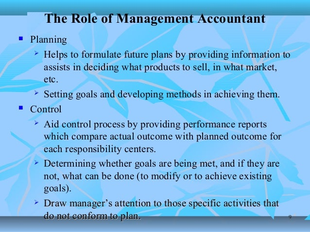 the role of management accounting in