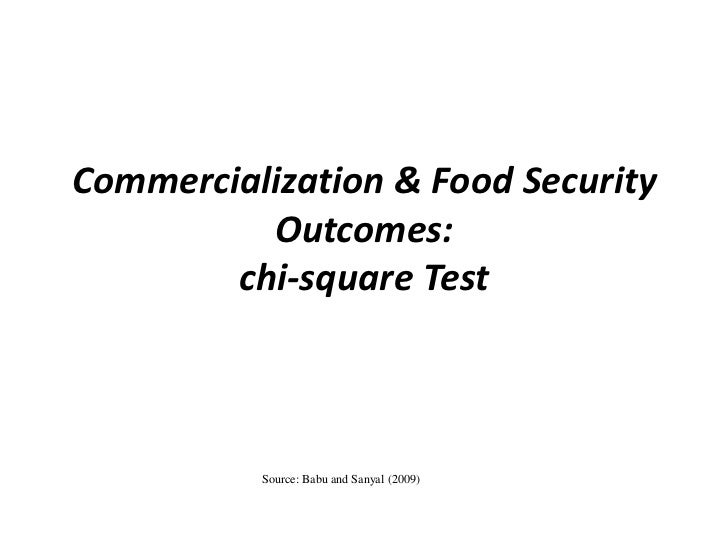Commercialization & Food Security          Outcomes:        chi-square Test          Source: Babu and Sanyal (2009)