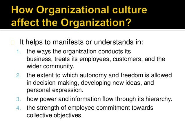 Effects of Organizational Culture on Employee Performance