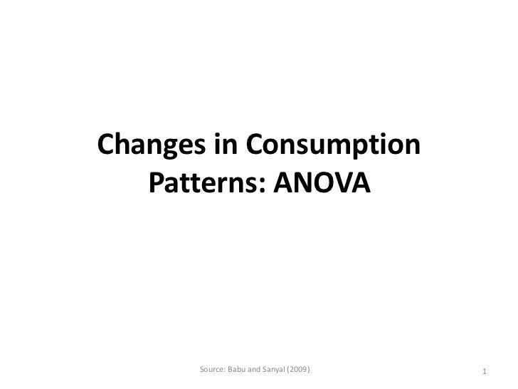 Changes in Consumption   Patterns: ANOVA      Source: Babu and Sanyal (2009)   1