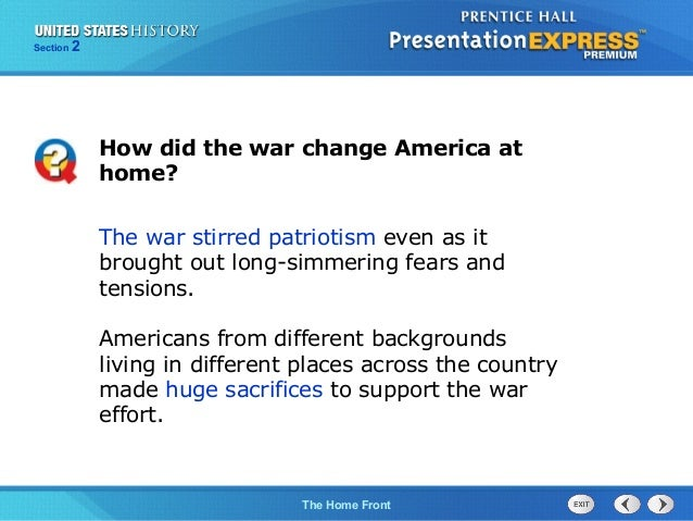 how did the war change america at home
