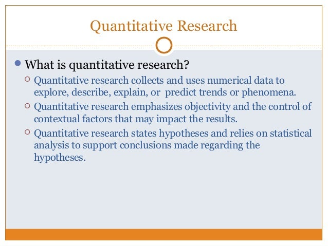 what is usually quantitative exploration within research