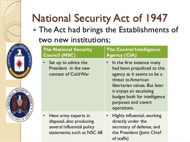Evolution of national security act
