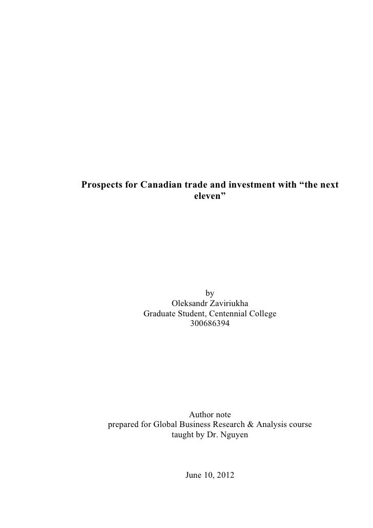 "Prospects for Canadian trade and investment with ""the next                         eleven""                               b..."