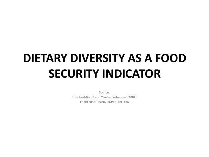 DIETARY DIVERSITY AS A FOOD    SECURITY INDICATOR                         Source:        John Hoddinott and Yisehac Yohann...